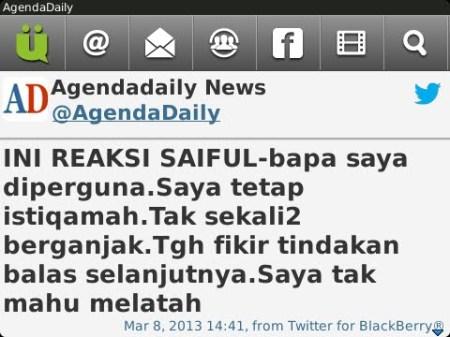 Sayabas Saiful kerana terus beristiqamah untuk mencari keadilan untuk dirinya yang dizalimi.
